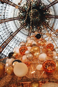 The first time I was in Paris, the ornate Christmas display at Galleries Lafayette struck me. I thought it was so amazing, and then I saw this one - different, but the same. It struck me that I was back again.